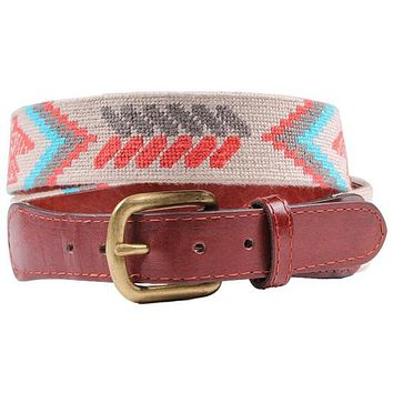 Navajo Eagle Needlepoint Belt in Khaki by Smathers & Branson