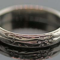 Antique Wedding Band-14k white gold