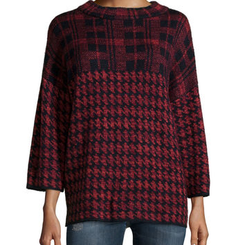3/4-Sleeve Dogstooth-Check Sweater, Red, Size: