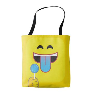 Blue Tongue Emoticon Tote Bag