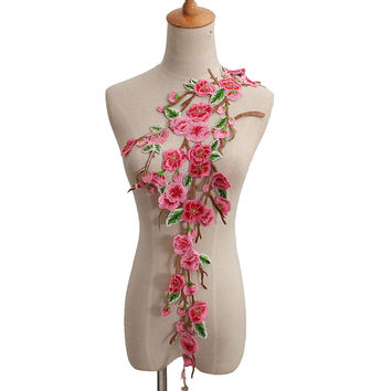 New Plum Blossom Flower Collar Sew on Patch Applique Badge Embroidered Lace Dress Cheongsam Clothes Decor DIY Accessories