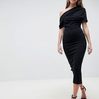 ASOS DESIGN pleated shoulder pencil dress at asos.com
