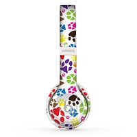 The Colorful Scattered Paw Prints Skin Set for the Beats by Dre Solo 2 Wireless Headphones