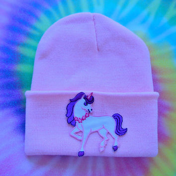 Pastel Unicorn Hand Patched Beanie
