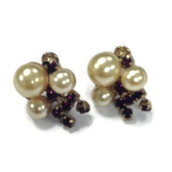 1950s Earrings, Vintage Faux Pearl and Rhinestone Faux Amethyst Screw Back Earrings