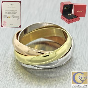 Cartier 18k White Yellow & Pink Gold Trinity Classic Band Ring 51 Box Papers