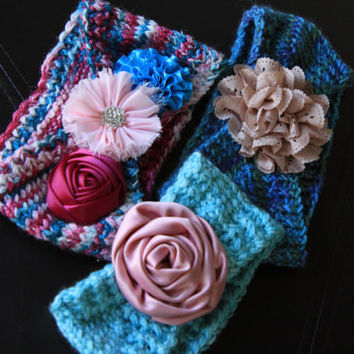 Knit Flower Headband, Ear Warmers with Flower / Ready to Ship!