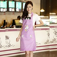 Lady's Kitchen Cooking Pinafores  Aprons Cartoon Rabbit Waterproof