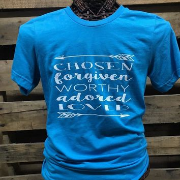 Southern Chics Apparel Chosen Worthy Forgiven Adored Loved Arrows Canvas Girlie Bright T Shirt