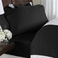 #1 Best Seller Luxury Bed Sheets Set on Amazon! - HIGHEST QUALITY Elegant Comfort® Wrinkle-Free 1500 Thread Count Egyptian Quality 4-Piece Bed Sheet Set - FLOWERS Collection - Deep Pocket, California King, Black Beauty