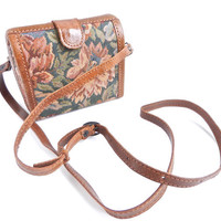 Vintage Brown Flower Purse -  Across Body Mini Bag / Roses