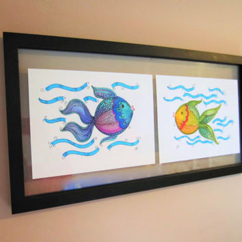 Fish Illustrations, colourful fish drawings, kids room decor, fish decor