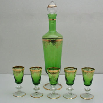 Green Glass Decanter with Gold Gilt Trim and Design Italy