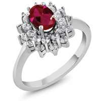 1.50 Ct Oval Red Created Ruby 925 Sterling Silver Ring