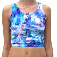 Women's Crop Top in The Lucy in the Sky Blotter Print- From Sloth Steady - Hot pants, Yoga, Rave, Sublimated, Trippy, Sacred, Booty, Dance