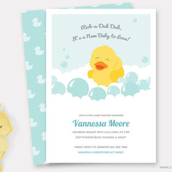 Rubber Duck Baby Shower Invitation Printable, Rubber Ducky Shower invite, Diaper Raffle Ticket, Baby Thank You Card, Customizable Colors