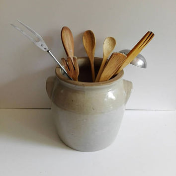 Pot, vintage stoneware, rustic, french country, kitchen decor, ceramic pot, country kitchen, kitchen storage, kitchen utensiles, pottery