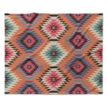 "Amanda Lane ""Southwestern Dreams"" Orange Pink Fleece Throw Blanket"