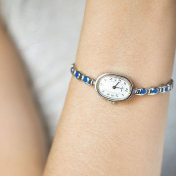 Oval face lady's watch bracelet Ray, women's watch blue dots bracelet, cocktail watch small wrist, silver blue delicate lady watch gift