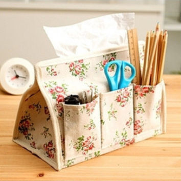 Cotton Linen Pastoral Style Floral Multi-functioned Storage Box Hot Sale Tissue Box [6283622342]