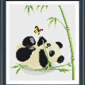 Baby Panda Cross Stitch Pattern, Instant Download, Free shipping, Cross Stitch PDF, Cross Stitch Animal, D02412