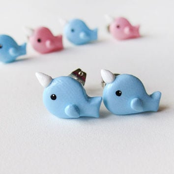 Blue Narwhal Earrings Polymer Clay Jewelry