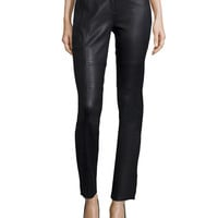 Mid-Rise Skinny Leather Pants, Black, Size: 2, BLACK - Halston Heritage