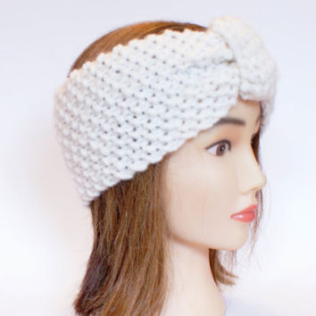 Irish handknit white earwarmer headband 100% wool women knitted teenager skiing holiday winter fall chunky knit