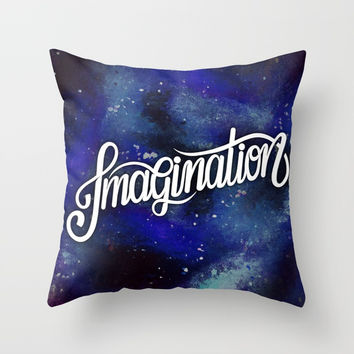 IMAGINATION // Galaxy Space Painted Milky-Way Hand Lettering Throw Pillow by AEJ Design