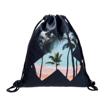 Drawstring Backpack in letter X pattern in beach black color for custom drawstring