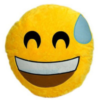 Sweat It Out Emoji Plush Pillow