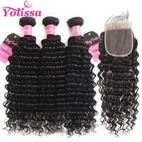 Yolissa Brazilian Deep Wave Bundles With Closure Human Hair Weave 3 Bundles With Closure 4x4 Baby Hair Remy Hair Extension