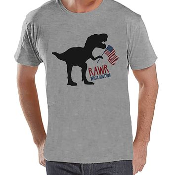 Men's 4th of July Shirt - Patriotic Dinosaur Grey T-shirt - Funny Dino 4th of July Party Shirt - Patriotic Independence Day Men's Shirt