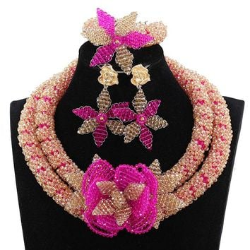 Fantastic Gold and Pink Crystal Flowers Jewelry Sets African Beads Bridal Wedding Jewelry Fuchsia Necklace Set 2017 WE084
