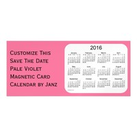 2016 Pale Violet Calendar by Janz 9x4 Magnet Magnetic Invitations