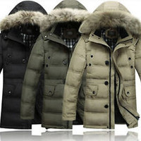 2013 Mens Winter Down Coats With Fur Hooded Outwear Parka Jackets size L-XXXXL