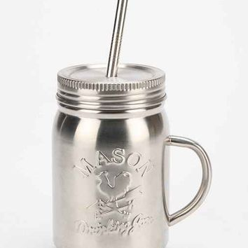 Stainless Steel Mason Jar Sipper- Silver One