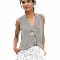 Banana Republic Womens Notched Sleeveless Popover Blouse