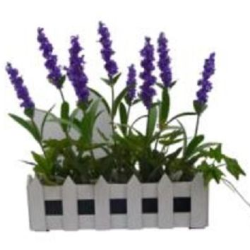 """11.75"""" Artificial Flowering Lavender Plant in White Picket Fence Container"""