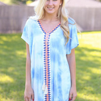 Tye Dye Cover Up Dress - Blue