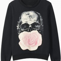 Black Skull Rose Print Sweatshirt
