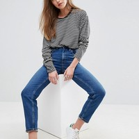 ASOS FARLEIGH High Waist Slim Mom Jeans in Blossom Darkwash at asos.com