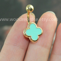 More colors Choose!-- Tiffany blue Clover Belly Button Rings ,black clover belly ring, white Clover Navel jewelry,lucky belly button jewelry