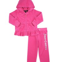Baby Juicy Crown 2Pc Long Sleeve Velour Tracksuit by Juicy Couture,