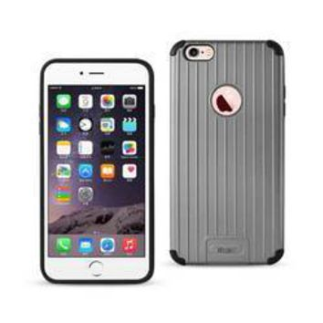 REIKO IPHONE 6 PLUS/ 6S PLUS RUGGED METAL TEXTURE HYBRID CASE WITH RIDGED BACK IN BLACK GRAY
