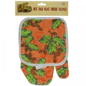Quilted Floral & Fruit Print Oven Mitt & Pot Holder Set