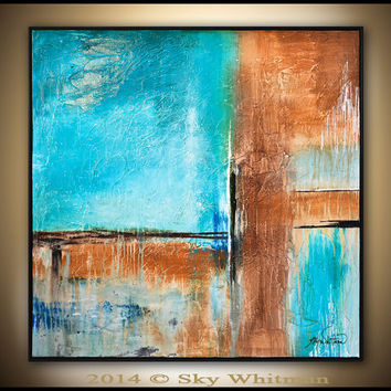 Original Abstract Framed Painting Large Modern Contemporary Textured Square Oil Painting Ocean Blue Rust Abstract Art High Gloss 37x37