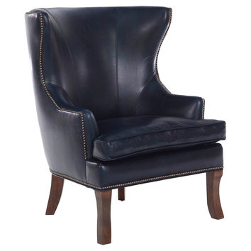 Thomas Leather Wingback Chair, Navy, Wingbacks