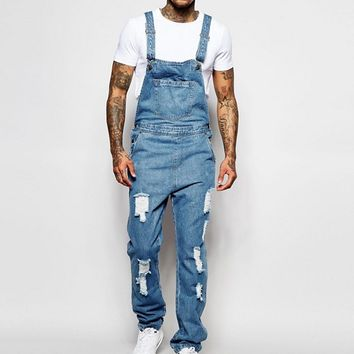 Liquor & Poker Dungarees Straight Fit Extreme Rips Stonewash at asos.com