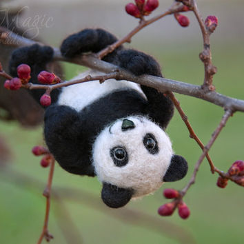 Felted panda, needle felt animal, wool toy, felted bear, felt toy, creature, cute, gift, miniature, soft sculpture